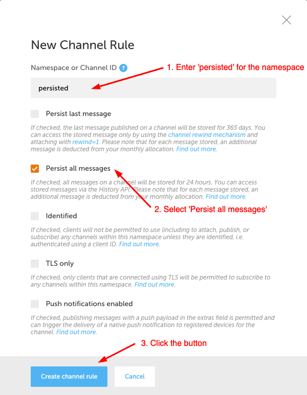 Create channel rule screenshot